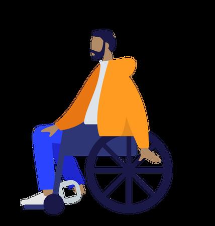 Beard man sitting on wheelchair Illustration