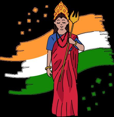 Bharat Mata holding Trishul background of Indian national flag Illustration