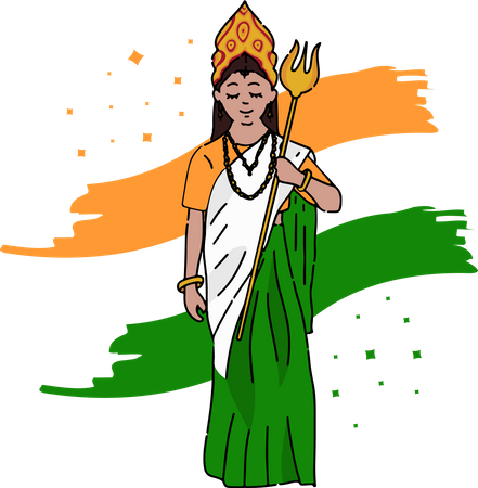 Bharat Mata holding Trishul background of tiranga Illustration