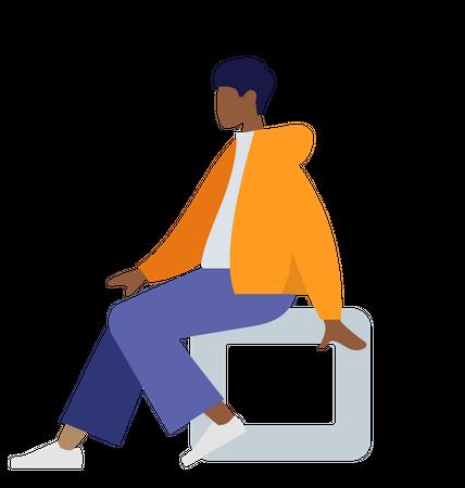 Black man sitting on stool Illustration