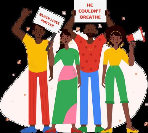 Black people protesting Illustration