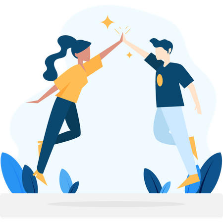 Boy and girl giving high-five to each other Illustration
