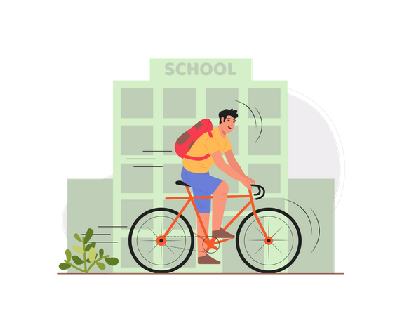 Boy going to the school Illustration