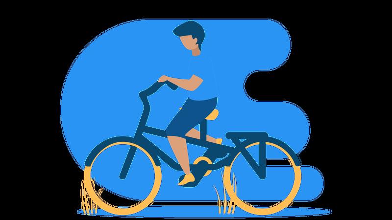 Boy riding cycle Illustration