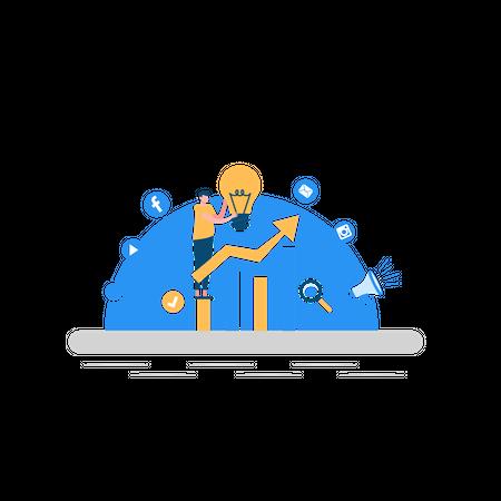 Business growth using marketing Illustration
