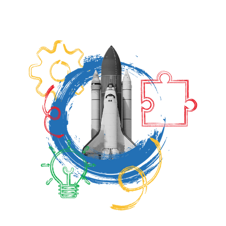 Business Startup idea with spaceship for problem solving and management concept Illustration