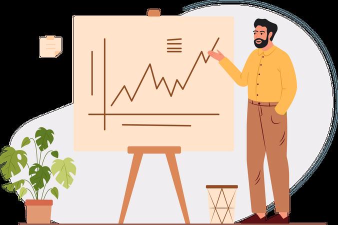 Businessman explaining the strategy Illustration