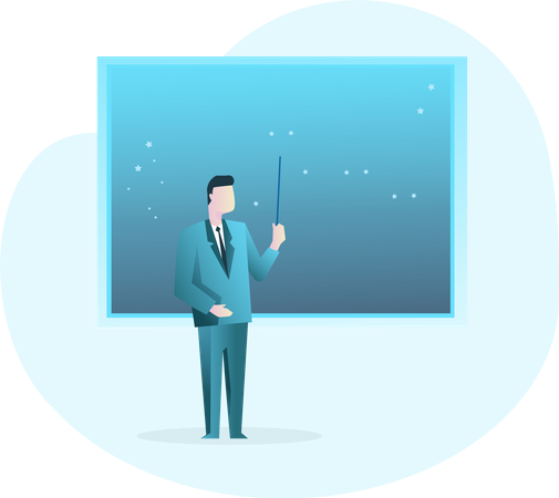 Businessman giving Presentation Illustration