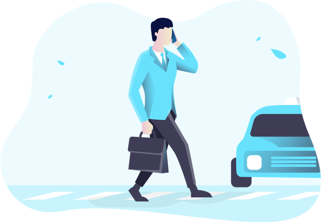 Busy businessman crossing road Illustration