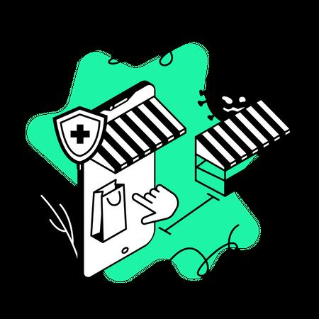 Buying online groceries Illustration