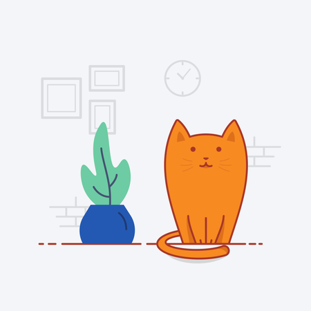 Cat sitting in the house Illustration