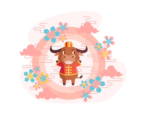 Chinese new year 2021 year of the ox Illustration