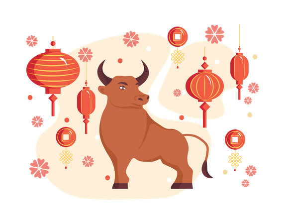 Free Chinese New Year 2021 Year Of The Ox Chinese Zodiac Symbol Illustration Download In Png Vector Format