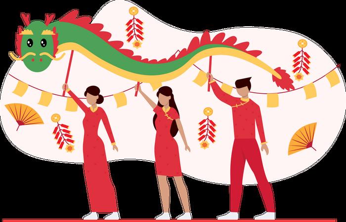 Chinese new year traditional celebration Illustration