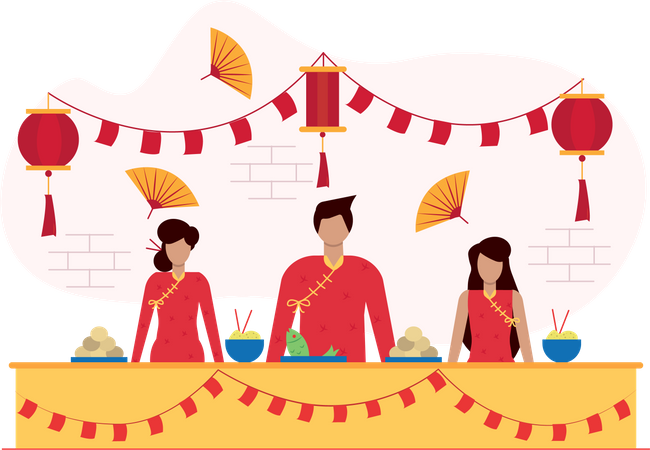 Chinese people selling traditional meal on food stall Illustration