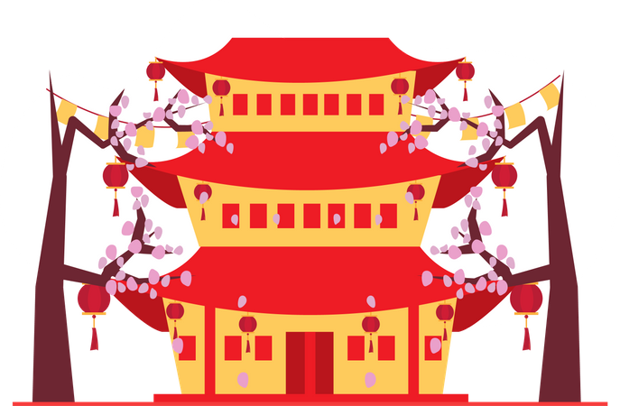 Chinese traditional house Illustration