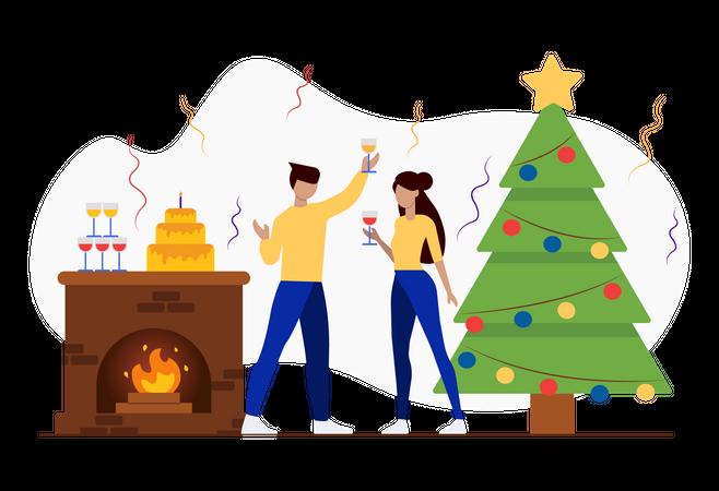 Christmas dinner party Illustration