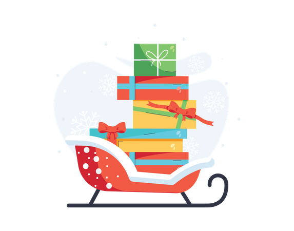 Christmas gifts on the sledge Illustration