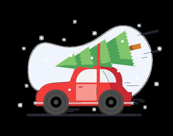 Christmas tree on the way Illustration