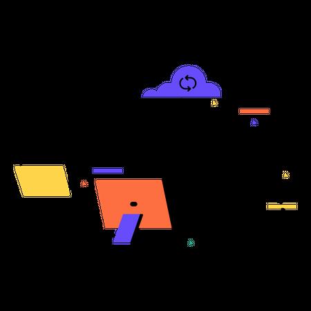 Cloud data processing Illustration