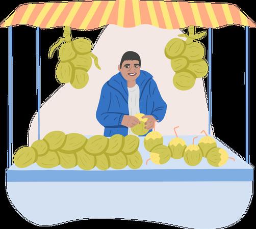 Coconut Vendor Illustration