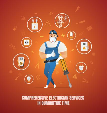 Comprehensive Electrician Services in Quarantine Time Illustration