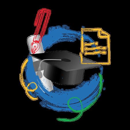 Concept-based photo illustration of graduation Illustration