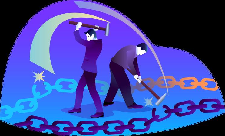 Concept of Broken Links Illustration
