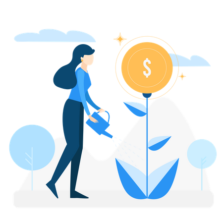 Concept of investment and saving money Illustration