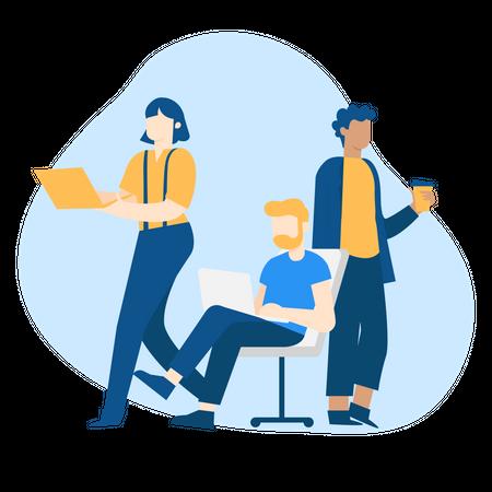 Concept of Remote Team Illustration