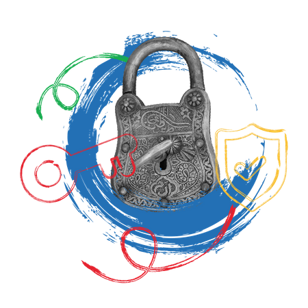 Concept of security with padlock and keys Illustration