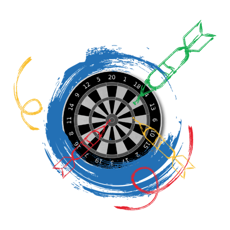 Concept of target or goal with dartboard and arrows Illustration