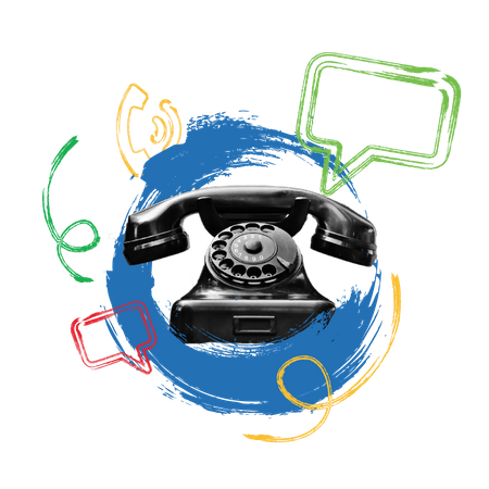 Concept of tele communication with telephone and massaging Illustration