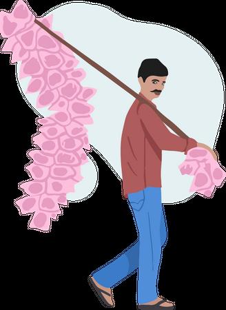 Cotton Candy Seller Illustration