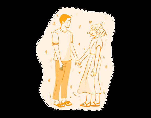 Couple holding Hands Illustration