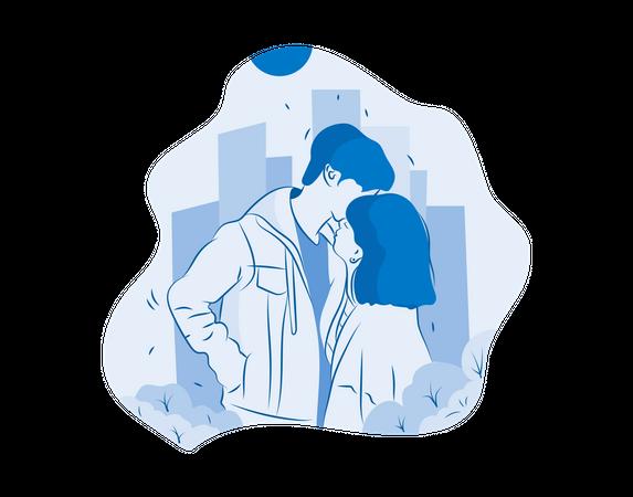 Couple kissing Illustration