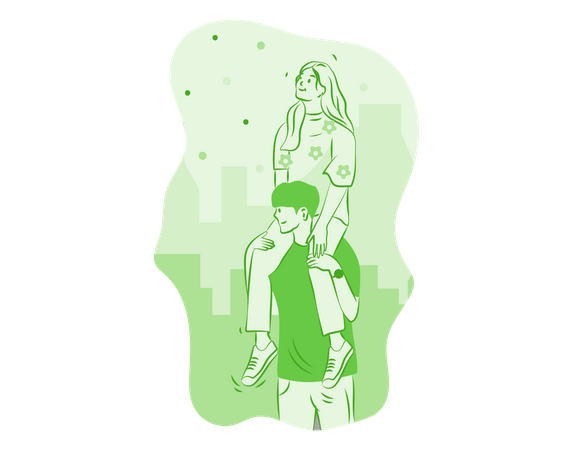 Couple looking at city skyline Illustration