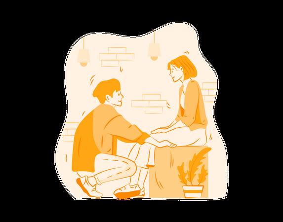 Couple Talking gazing eachother Illustration