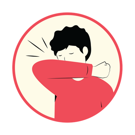 Cover face while sneezing or coughing Illustration