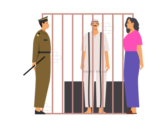 Criminal talking to family along with police Illustration