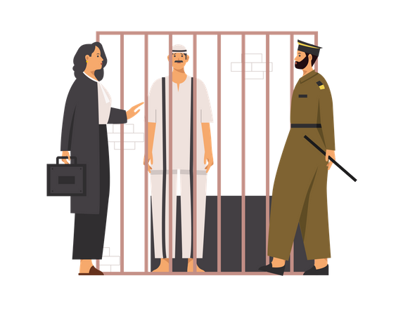 Criminal talking to lawyer about bail along with police Illustration