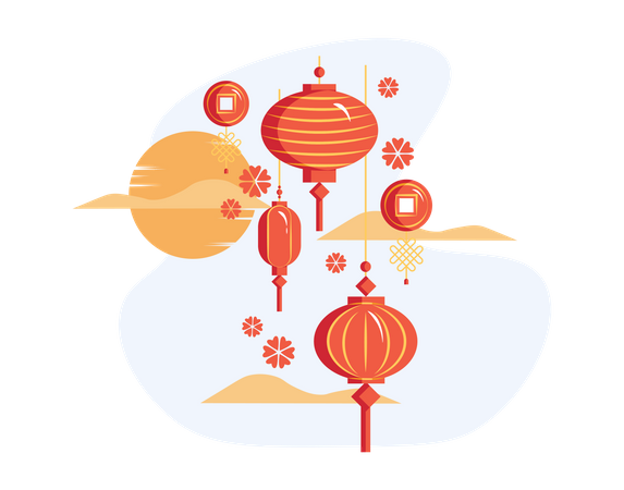 Decorative Chinese Lantern Illustration