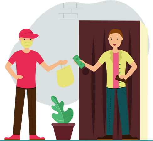 Delivery boy delivered Groceries And Medicines to home with precaution Illustration