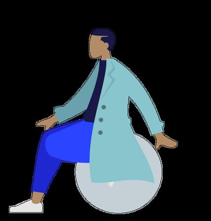 Doctor sitting on ball Illustration