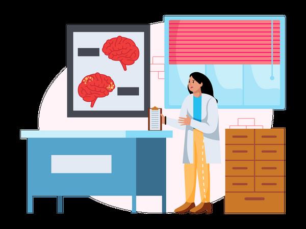 Doctor verifying patient medical report Illustration