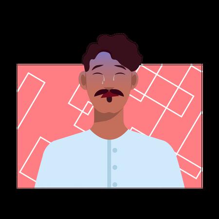 Emotionally sensitive man Illustration
