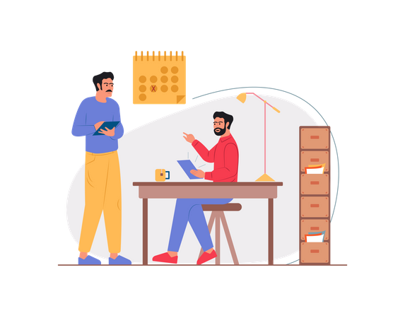 Employee discussing strategy in the office Illustration
