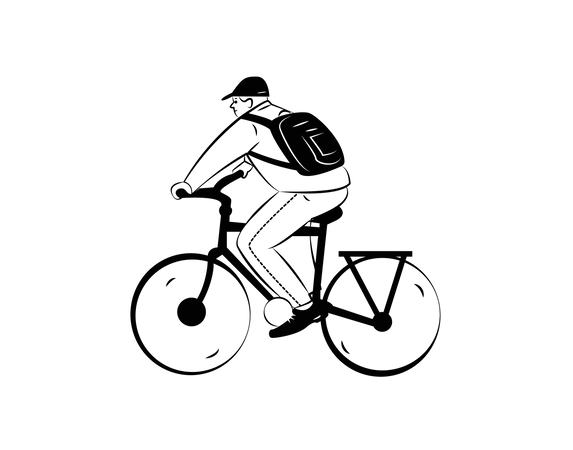 Employee going offce on cycle Illustration