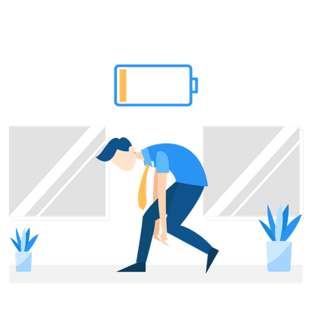 Employee tired and battery down Illustration