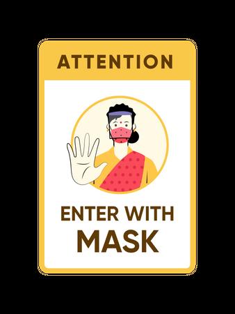 Enter with mask Illustration
